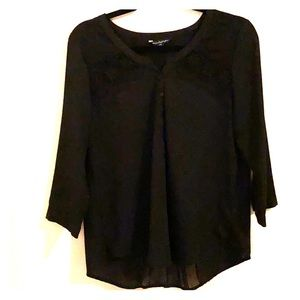 Black lace and chiffon blouse